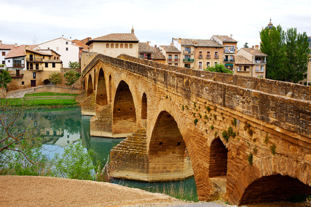 xacobeo: Puente de la Reina in Saint James Way bridge over Arga River in Pamplona