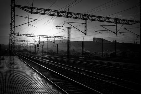 camino de santiago: Santiago de Compostela sunrise at train railways end of Saint James Way