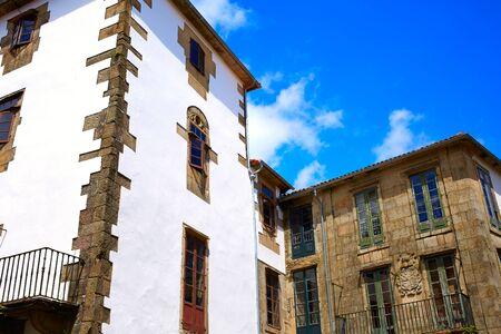 xacobeo: Santiago de Compostela facades end of Saint James Way in Galicia Spain Stock Photo
