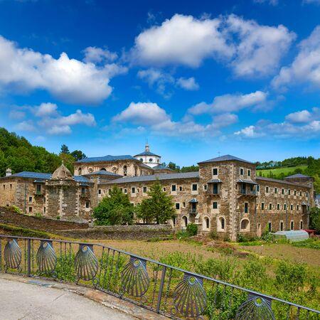 pilgrim journey: Samos monastery by the way of Saint James in Galicia Lugo Stock Photo