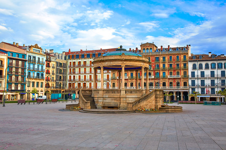 Pamplona Navarra in Spain plaza del Castillo square downtown 版權商用圖片 - 52179263