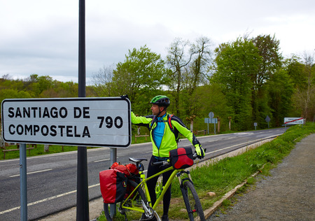 Roncesvalles begin of Way of Sain James biking sign of 790 km to Santiago photo