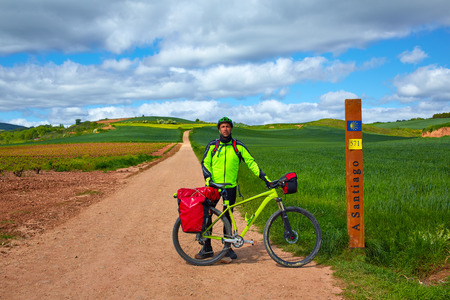 km: The way of Saint James biking 571 km to Santiago sign Stock Photo