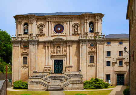 camino de santiago: Samos monastery by the way of Saint James in Galicia Lugo Stock Photo