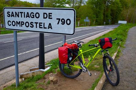sain: Roncesvalles begin of Way of Sain James biking sign of 790 km to Santiago