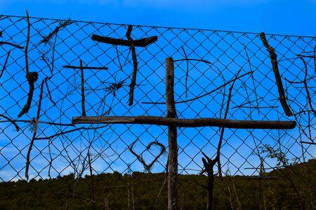 rioja: Stick pilgrims cross symbols in The Way of Saint James at La Rioja Logrono Stock Photo