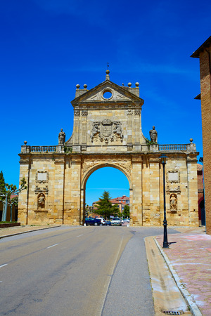 xacobeo: Sahagun middle center of Saint James Way San Benito arch in Leon Spain