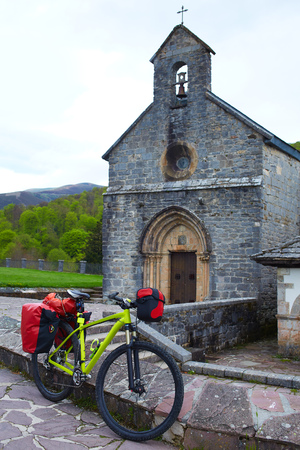 sain: Roncesvalles begin of Way of Sain James biking in Navarra Pyrenees