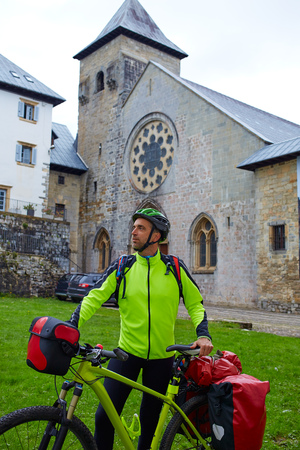 xacobeo: Roncesvalles begin of Way of Sain James biking in Navarra Pyrenees