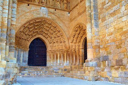 xacobeo: Villalcazar de Sirga church Santa Maria la Blanca Way of Saint James in Palencia Stock Photo