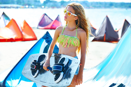 teen bikini: Blond kite surf teen girl in summer beach at Mediterranean Stock Photo