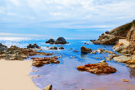 costa brava: Lloret de Mar beach of Costa Brava Catalonia spain Stock Photo