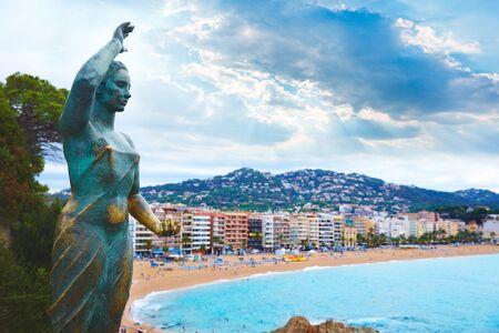 mujer: sea woman in Lloret de Mar at Costa Brava called Mujer Marinera at Catalonia