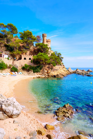 costa brava: Lloret de Mar Castell Plaja at Sa Caleta beach in costa Brava of Catalonia Spain
