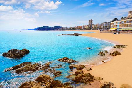 beaches of spain: Lloret de Mar beach in costa Brava of Catalonia Spain