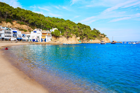 costa brava: Badia de Tamariu beach in Costa Brava Parafrugell at Girona Catalonia of Spain Stock Photo