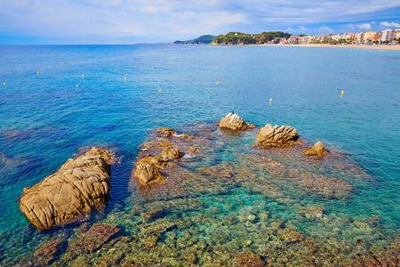 sea beach: Lloret de Mar beach of Costa Brava Catalonia spain Stock Photo