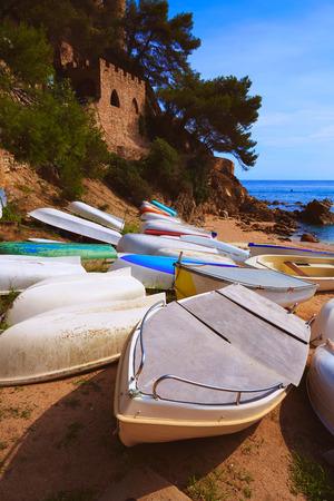sa: Lloret de Mar Sa Caleta beach in costa Brava of Catalonia Spain