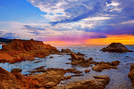 costa brava: Lloret de Mar beach sunrise in costa Brava of Catalonia spain