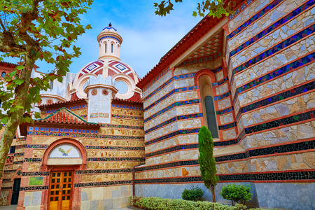 costa brava: Lloret de Mar Sant Roma chuch in Costa Brava of Catalonia at Spain
