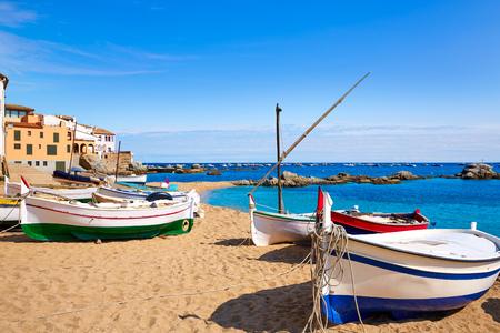 beached: Calella de Parafrugell in Costa Brava of Girona at Catalonia Spain Stock Photo