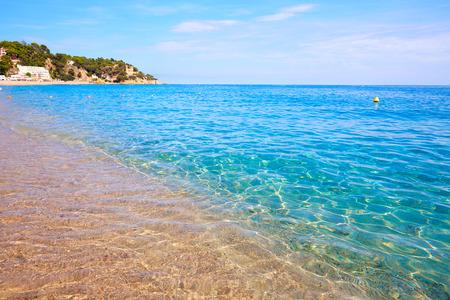 Costa Brava beach Lloret de Mar in Catalonia at Spain Stock Photo