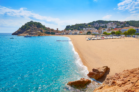 costa brava: Tossa de Mar beach in Costa Brava of Catalonia Spain Platja Gran playa