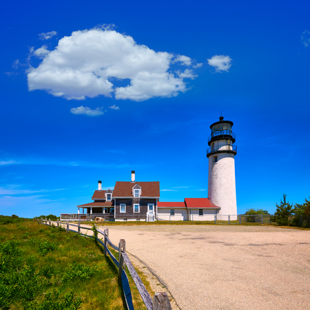 touristic: Cape Cod Truro lighthouse in Massachusetts USA