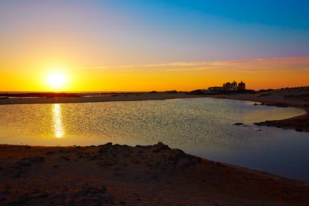 islas: El Cotillo la Concha Beach sunset Fuerteventura at Canary Islands of Spain Stock Photo