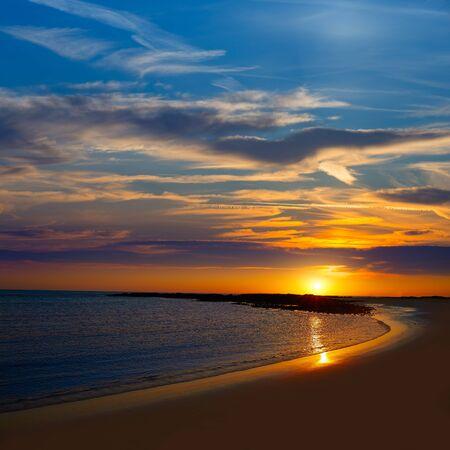 atlantic ocean: El Cotillo la Concha Beach sunset Fuerteventura at Canary Islands of Spain Stock Photo