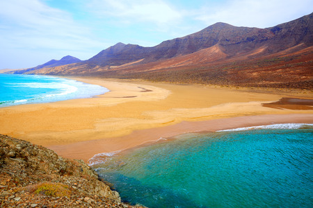 seascape: Cofete Fuerteventura Barlovento beach at Canary Islands of Spain Stock Photo