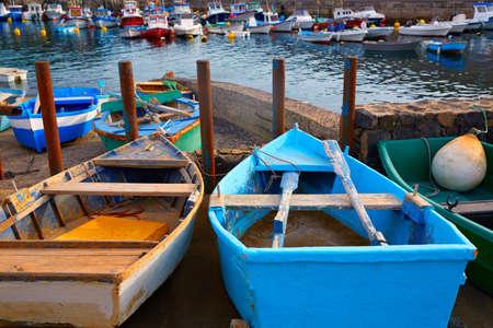 islas: El Cotillo port fisherboats in Fuerteventura at Canary Islands of Spain Stock Photo