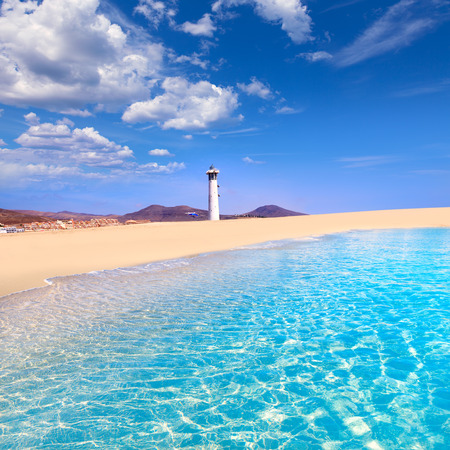 sandy beach: Morro Jable Matorral beach Jandia in Pajara of Fuerteventura at Canary Islands Stock Photo