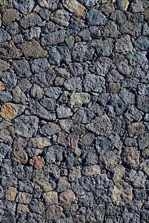 volcanic stones: Black masonry with volcanic stones in Fuerteventura at Canary Islands Stock Photo