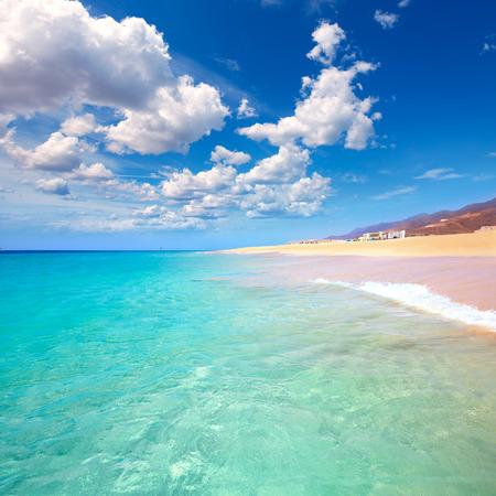 serene landscape: Morro Jable Matorral beach Jandia in Pajara of Fuerteventura at Canary Islands Stock Photo