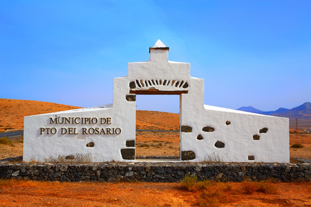 touristic: Puerto del Rosario welcome monument sign Fuerteventura at Canary Islands of Spain