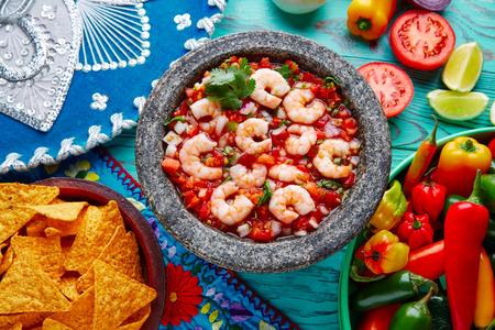 piquancy: Ceviche de Camaron shrimp in molcajete from Mexico Stock Photo