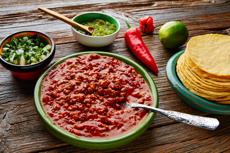 chilies: Chili with meat platillo Mexican food with sauces