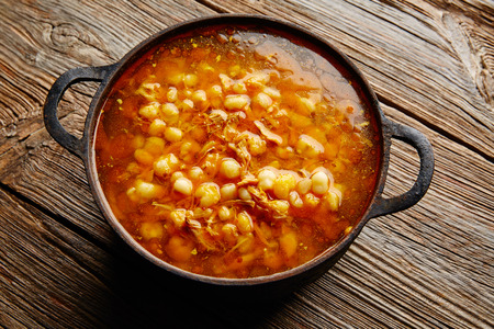 stew pan: Pozole with mote big corn stew from Mexico in old cooking pot