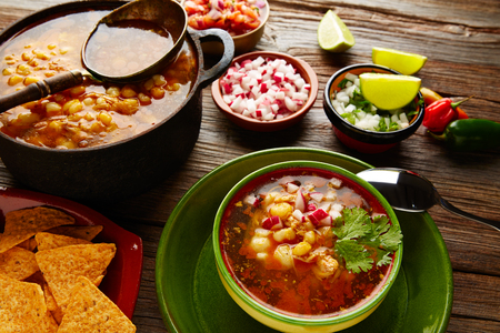 mote: Pozole with mote big corn stew from Mexico with ingredients and appetizer