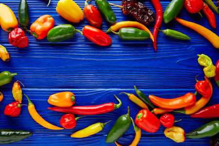 piquancy: Mexican hot chili peppers colorful mix habanero poblano serrano jalapeno blue background Stock Photo