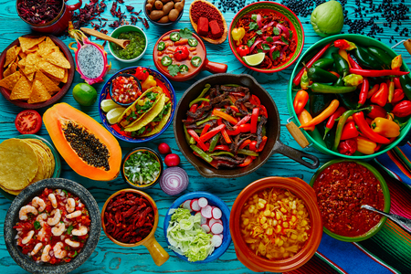 piquancy: Mexican food mix colorful background Mexico Stock Photo