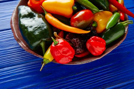 chiles picantes: los pimientos picantes mexicanas mezcla colorida habanero poblano serrano jalapeño dulce Foto de archivo