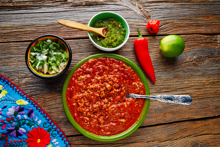 piquancy: Chili with meat platillo Mexican food with sauces