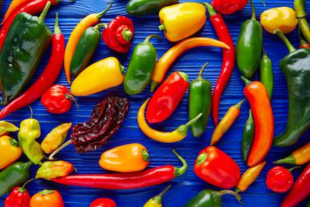 メキシコの熱いチリペッパー カラフルなミックス habanero poblano セラーノ ハラペーニョ甘い 写真素材
