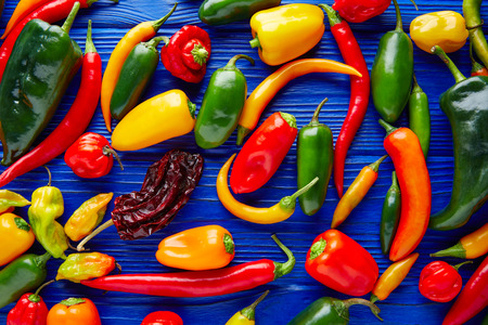 green chilli: Mexican hot chili peppers colorful mix habanero poblano serrano jalapeno sweet