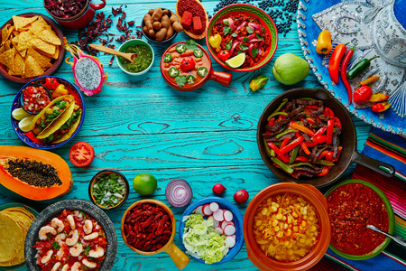 backgrounds: Mexican food mix copyspace frame colorful background Mexico