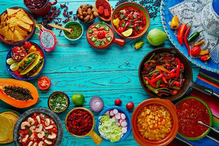 Mexican food mix copyspace ramki kolorowe tło Meksyk Zdjęcie Seryjne