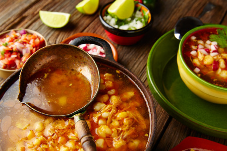 mote: Pozole with mote big corn stew from Mexico in old cooking pot