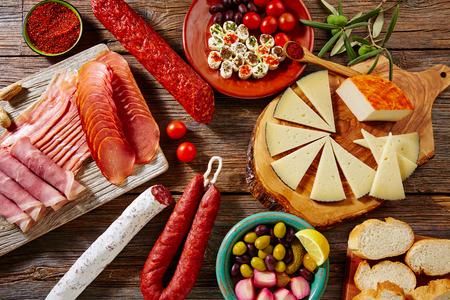 Tapas sausage mix from Spain jamon iberico lomo cheese ham chorizo olives Stockfoto